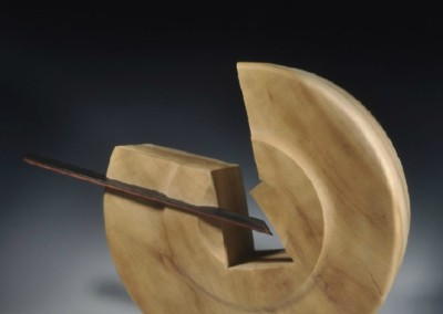 1147 Fractured and Pierced Millstone (2009)<br>Tulip Poplar from Monticello/Ebony and Padauk sliding dovetail, 24x18x9.5 inches