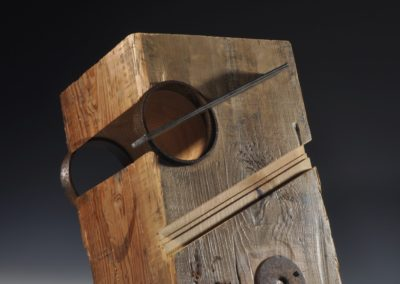 1280 Double ring, Pierced, Industrial Series No. 34<br>pine beam and steel, 18 x 12 x 11 inches