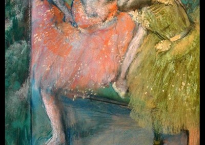 Danseuses au Foyer (c. 1901)<br>pastel on joined sheets of paper laid down on board, 29.25 x 23.25 inches