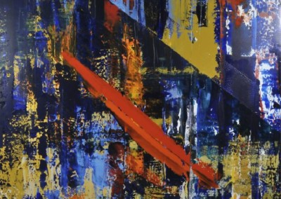 666 Blue Ochre with Orange (2013)<br>acrylic on canvas, 46x60 inches