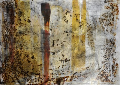 751 Indeterminate Layers<br>acrylic, rust charcoal on canvas, 36 x48 inches