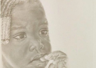 A Child of Lakeview, Arkansas (2012)<br>silverpoint on paper, 8x6 inches