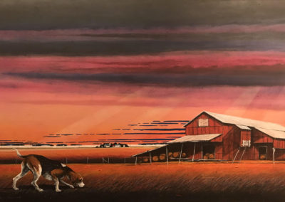 Agri Building -Down Wind (2018)<br>polymer paint and dry pigment on canvas, 36 x 60 inches
