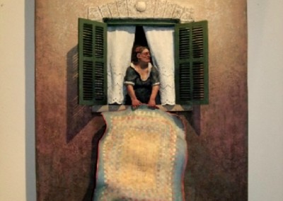 Airing a Quilt (2008)<br>painted on ceramic, 24x34 inches, SOLD