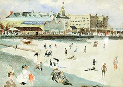 Atlantic City Beach Scene (circa 1895)<br>watercolor on paper, 7x9.75 inches