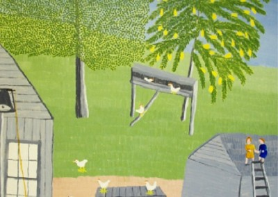 Barnyard 2 (1971)<br>oil on canvas, 30x24 inches, SOLD