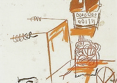 Basquiat - Untitled (nd)<br>mixed media on paper, 42 x 26 inches