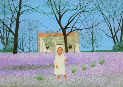 Bessie Marie and The Wild Verbena (1991)<br>acrylic on panel, 23x34 inches
