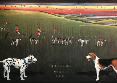 Black Fog White Dog (2018)<br>mixed media on canvas, 57.5 x 94 inches