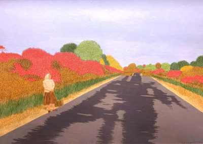 Blacktop Road (1980)<br>acrylic on panel, 23 x 34 inches
