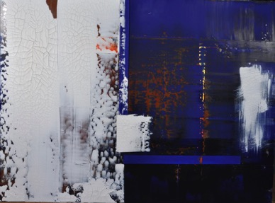 Blue Door<br>mixed media on canvas, 36 x 48 inches