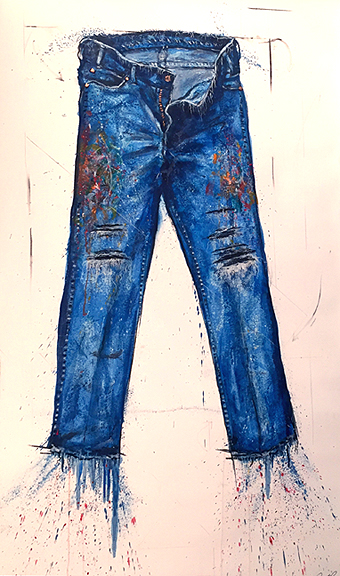 Brand Loyalty – Paint Splattered Work Pants (2015)<br>oil paint, dry pigment and metal leaf on rag paper, 54 x 32 inches