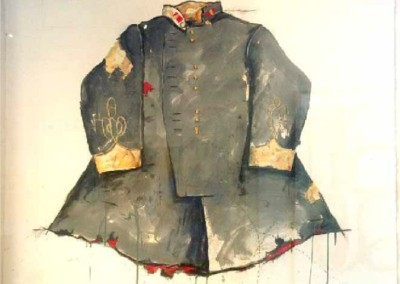Brand Loyalty - Officer's Tunic - Winter Gray (2014)<br>mixed media on paper, 43x47 inches