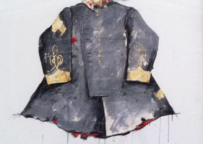Brand Loylity - Officer's Tunic - Winter Gray (2014)<br>mixed media on paper, 43 x 47 inches
