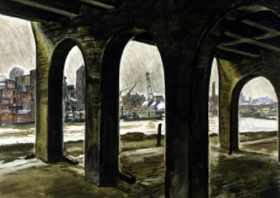 Bridge in the Rain (1938)<br>watercolor on paper, 24x29 inches