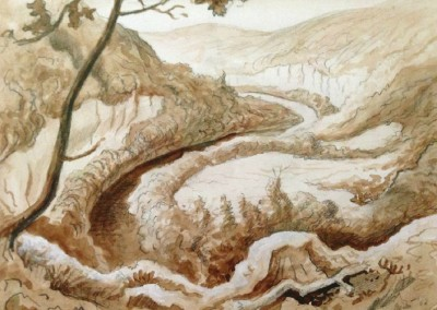 Buffalo River - Upper Goat Trail - Ponca (1962)<br>sepia, graphite, and gouache on paper, 10.5x13.25 inches