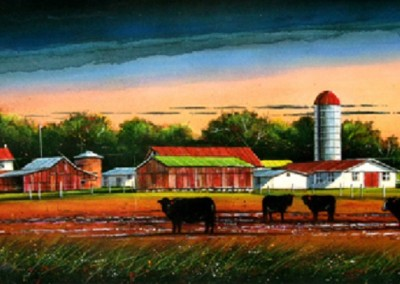 Bull Barn - Feed Lot (2009)<br>oil and dry pigment on paper, 15x42 inches