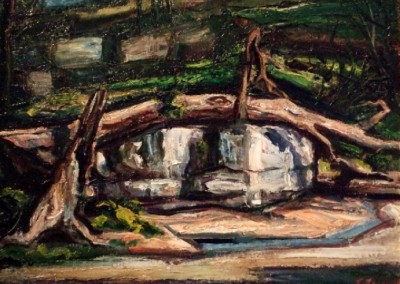 Cave at Eureka Springs (circa 1938)<br>oil on panel, 17.5x23.5 inches