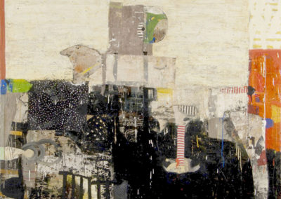 Ceasing: decoded; allegory (2015)<br>oil and mixed media on canvas, 48 x 60 inches