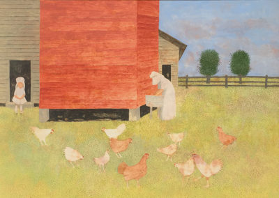 Chickens (1993)<br> acrylic on panel, 23 x 34 inches