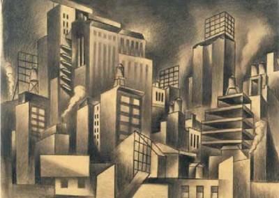 Cityscape (1924)<br>graphite on paper, 16x20 inches