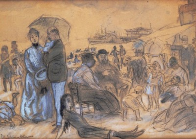 Coney Island (1910)<br>charcoal, watercolor, and gouche on paper, 8x14 inches, SOLD