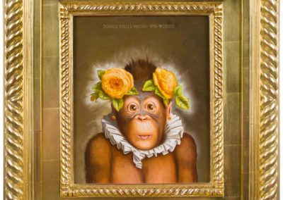 Cookie (1996)<br>oil on canvas, 11 x 9 inches (19.5 x 17.5 inches framed)<br>Frame museum quality, designed by the artist, hand carved, 24 karat gold leaf.