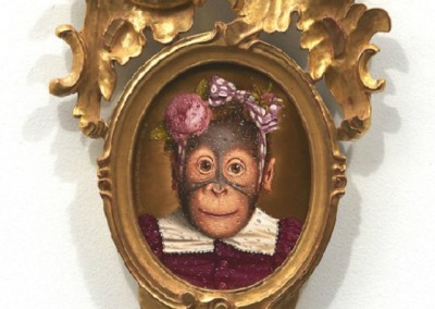 Cookie (1998)<br>oil on panel, 10x8 inches, 27x14 inches