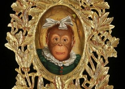 Cookie Following a Night Under Brenda's Front Porch...AND WITH HER EYES STILL POPPING FROM IT ALL...<br>oil on panel, 8x6 inches, 14x12x7 inches framed, frame is museum quality, designed by the artist and commission carved, gilded with 23k gold. Frame is Adirondack style, is an easel backed frame design for displaying on a table top. Frame can also be wall mounted.