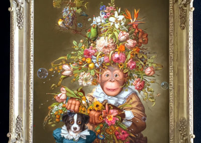 Cookie and Ann (2012)<br>oil on canvas, 26.5 x 22.5 inches