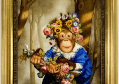 Cookies First Easter (1996)<br>oil on panel, 39x23 inches, SOLD