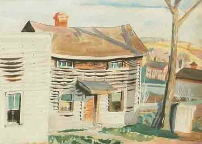 Crickets in November - New Albany, Ohio (1919)<br>watercolor on paper, 17.5x17.5 inches
