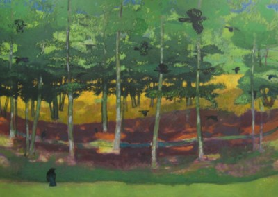 Crows Through Willow Oaks (2010)<br>oil on canvas, 48x72 inches, SOLD