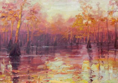 Cypress at Sunrise (2006)<br>oil on canvas, 20x24 inches