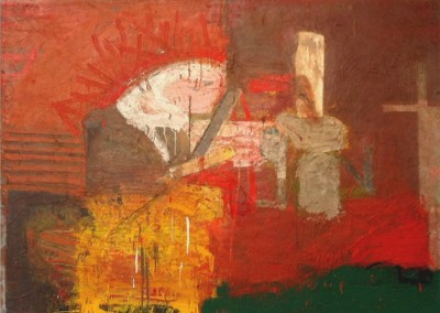 Declare: impulse; reconstruction (1992)<br>mixed media on paper and canvas on board, 38x50 inches