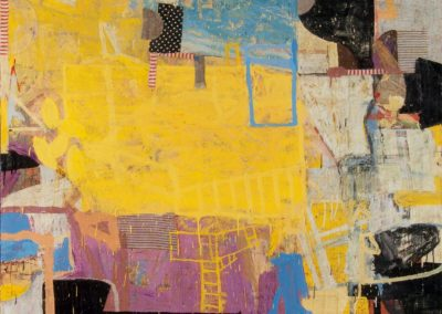 Displacement: returning; notion (2012)<br>oil and mixed media on canvas, 48 x 60 inches