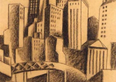 Downtown NYC (circa 1925)<br>brown crayon on paper, 19x14.5 inches