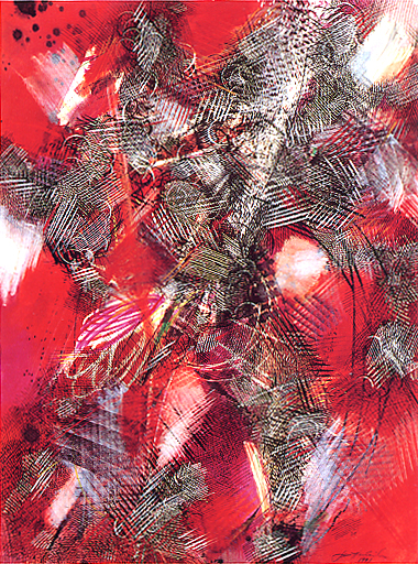 Entity in Red<br>mixed media on paper, 30 x 22 inches