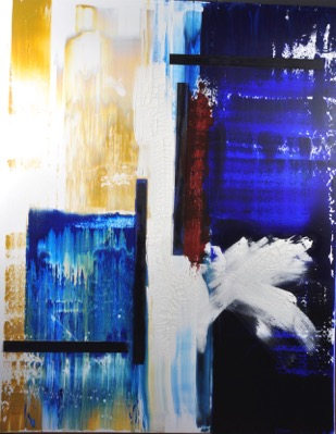 Escape<br>mixed media on canvas, 48 x 60 inches
