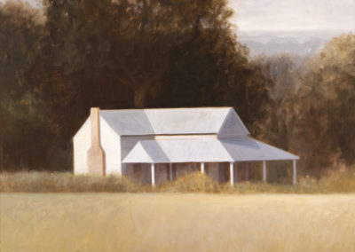 Farm House (1999)<br>oil on canvas, 42 x 42 inches