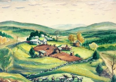 Farm in the Ozarks (c.1970<br>watercolor and pastel…16 x 23 inches
