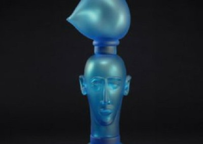 Feather Head 7<br>sculpted glass, 35.5x13x10 inches
