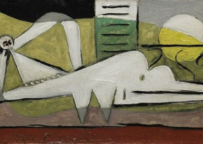 Femme Couche (1929)<br>oil on canvas, 7.6x14 inches