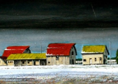 Flat Out Bull Barn (2010)<br>oil and dry pigment on paper, 10x42 inches