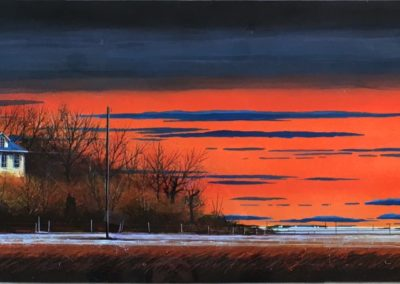 Flat Out Fall Light (2014)<br>mixed media on paper, 18 x 60 inches (25 x 68 inches)