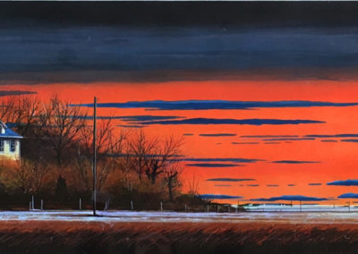 Flat Out Fall Light (2014)<br>mixed media on paper, 18 x 60 inches
