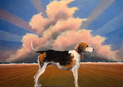 Flat Out Walker Hound (2019)<br>mixed media on canvas, 36 x 36 inches