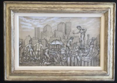 Urban Beach Scene (1934)<br>mixed media on paper, 14.75 x 24 inches