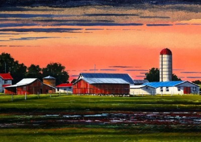 Front Field - Summer Light (2010)<br>oil and dry pigment on paper, 15x42 inches