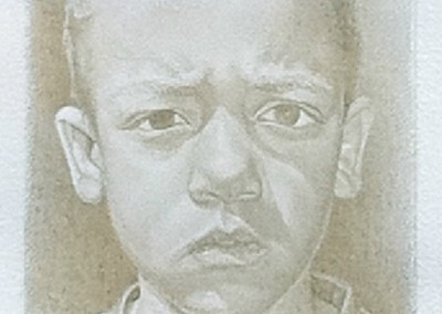 Gerald III (2009)<br>silverpoint on prepared paper, 6x4 inches, 16x14 inches framed